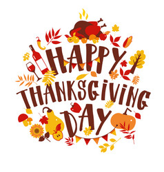 happy thanksgiving autumn holiday background vector image