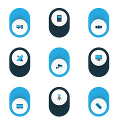 hardware icons colored set with socket projector vector image