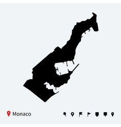High detailed map of Monaco with navigation pins vector