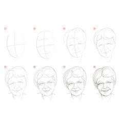 How to draw step-wise imaginary portrait old vector