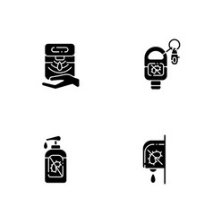 Hygienic hand sanitizers black glyph icons set vector