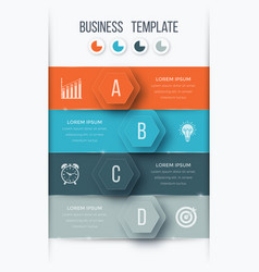 infographics template four options with hexagon vector image