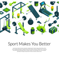 Isometric gym with place for text vector