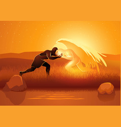 jacob wrestling with god or angel vector image