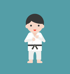 Karate or judo athlete cute character vector