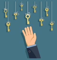 keys hanging on thread vector image