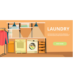 Laundry horizontal banner in flat style vector