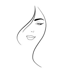 line art abstract beautiful female face 3 vector image