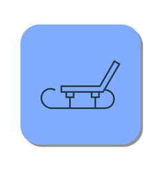 Linear sledge icon for winter skiing in the snow vector