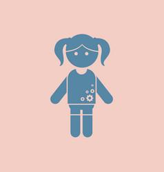 Little cute girl vector