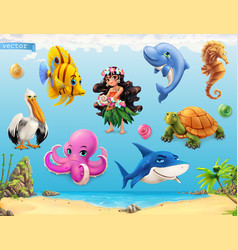 Little girl with a seashell funny sea animals and vector