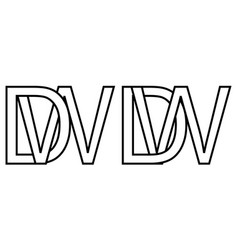 logo wd dw icon sign two interlaced letters w d vector image
