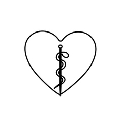 Monochrome contour with health symbol with serpent vector