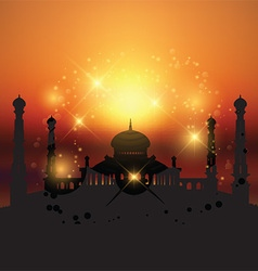 Mosque at sunset vector