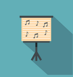 Music stand with piano notes icon flat style vector