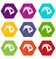 new tent icons set 9 vector image