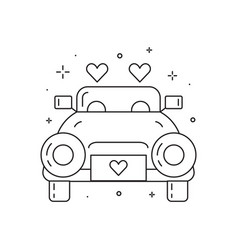 Newly married wedding car line art icon vector