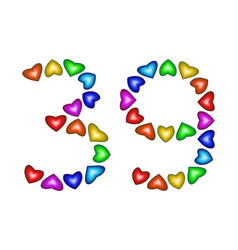 Number 39 thirty nine of colorful hearts on white vector