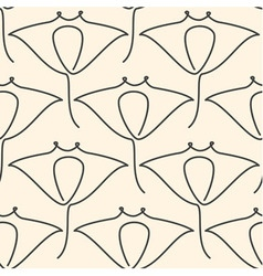 One line manta ray seamless pattern vector