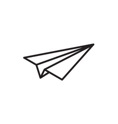 paper plane thin line icon paper airplane fly vector image