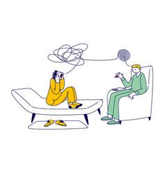 patient character in psychologist psychotherapist vector image
