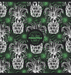 pineapple and exotic leaves seamless pattern hand vector image