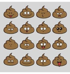 Poop Cute Cartoon Emoji Set vector
