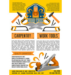 Poster of carpentry woodwork work tools vector