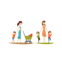 Pretty mothers walking with their little kids set vector