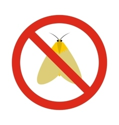 Prohibition sign moth icon flat style vector image