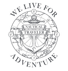 retro travel banner with a ship anchor and map vector image