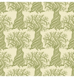 Seamless pattern with curling trees vector image