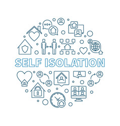 Self isolation concept round outline vector