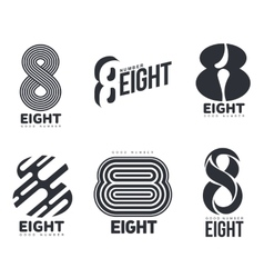 Set of black and white number eight logo templates vector image