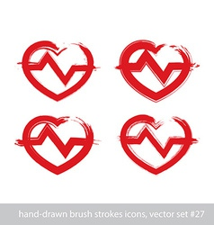 Set of hand-drawn stroke red heart icons vector image
