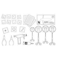 Set of professional piercing equipment Contour vector image