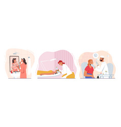 set woman cosmetology procedures female vector image