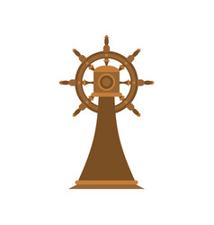 ship steering wheel on stand isolated ship part vector image
