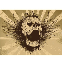 Skull with grunge rays background vector