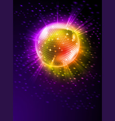 sparkling disco ball on orange light burst vector image