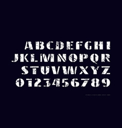 Stencil-plate sans serif font in military style vector
