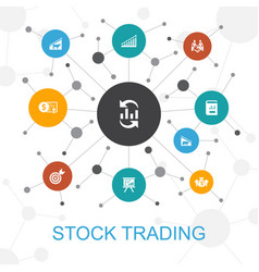 Stock trading trendy web concept with icons vector