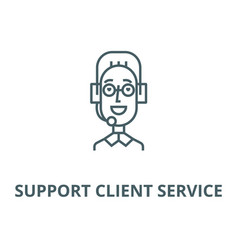 support client service male head line icon vector image