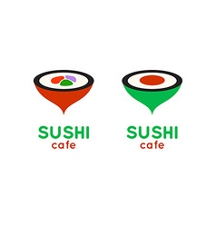 Sushi cafe or sushi bar logo Sushi with fresh tuna vector