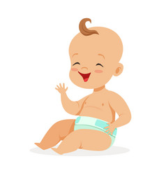 Sweet little bain a diaper sitting and laughing vector
