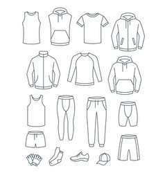 thin line men casual clothes for fitness training vector image