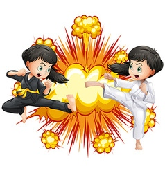 Two girl in kungfu outfit fighting vector