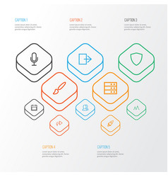 user icons line style set with action forward vector image
