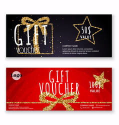 Voucher template with gold gift boxcertificate vector