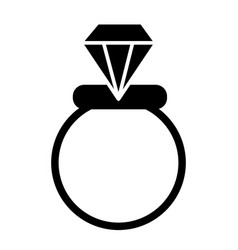Wedding ring solid icon engagement ring vector